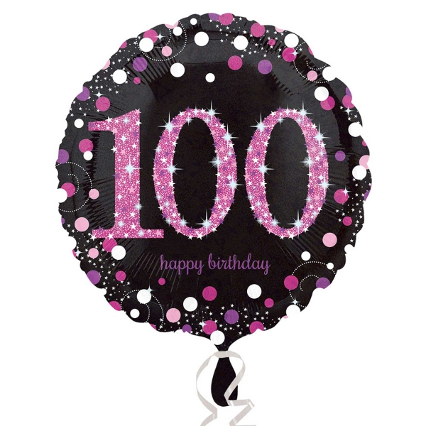 Details About Anagram 18 Circle Sparkling Happy 100Th Birthday Balloon Party Decoration Pink