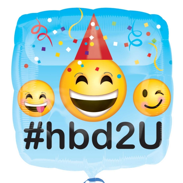 Details About Anagram 18 Square Foil Emoji Happy Birthday Balloon Party Decoration Blue