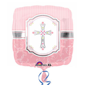 """Anagram 18"""" Square Baby Shower Communion Blessings Balloon Party Decoration Pink"""