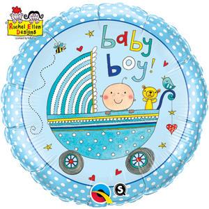 "Qualatex 18"" Round Re Foil Boy Stroller Balloon Baby Shower  Party Decoration"