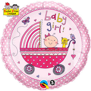 """Qualatex 18"""" Round Re Foil Girl Stroller Balloon Baby Shower  Party Decoration"""