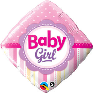 "Qualatex 18"" Diamond Girl Dots & Stripes Balloon Baby Shower Party Decoration"