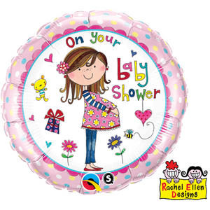 """Qualatex 18"""" Round Re Foil On Your Baby Shower Balloon Party Decoration Pink"""