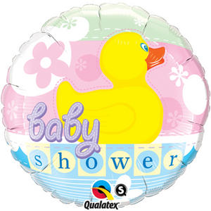 """Qualatex 18"""" Round Foil Rubber Duck Balloon Baby Shower Party Decoration"""