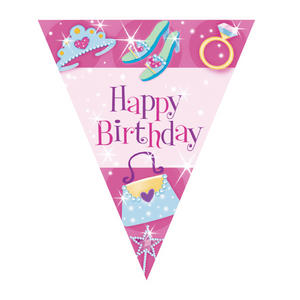 Amscan Pennant Princess Bunting Birthday Party Decoration Pink