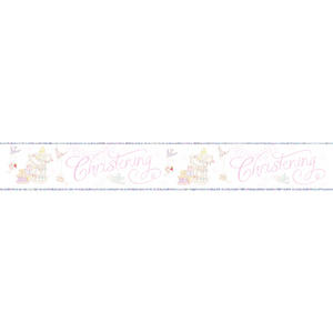 Simon Elvin Foil Baby Girl Christening Banner Religious Party Deoration White