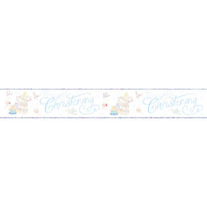 Simon Elvin Foil Baby Boy Christening Banner Religious Party Deoration White