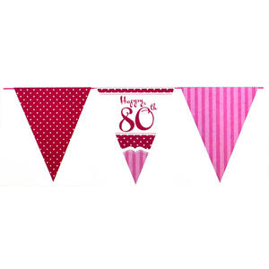 22 Ft Perfectly Pink Happy 80Th Birthday Bunting Age 80 Party Decoration