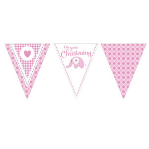 12 Ft Elephant On Your Christening Banner Baby Party Decoration Pink