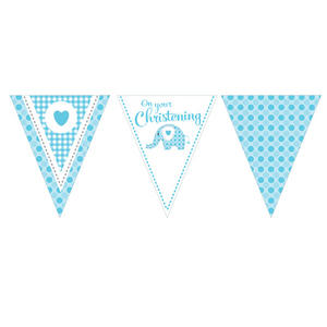 13 Ft Elephant On Your Christening Banner Baby Party Decoration Blue