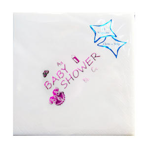 Npk 15 Baby Shower Pink Printed Napkins Party Table Servietee Decoration White