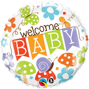 """Qualatex 18"""" Round Foil Flower Nature Welcome Baby Balloon Party Decoration"""