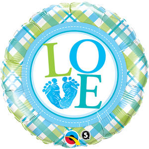"Qualatex 18"" Round Foil Baby Feet Love Balloon Baby Shower Party Decoration Blue"
