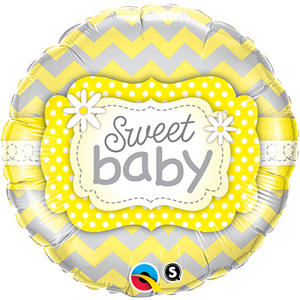 """Qualatex 18"""" Round Foil Sweet Baby Balloon Baby Shower Party Decoration Yellow"""