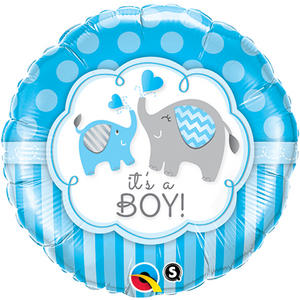 "Qualatex 18"" Round Elephant It?S A Boy Balloon Baby Shower Party Decoration"