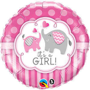 "Qualatex 18"" Round Elephant It?S A Girl Balloon Baby Shower Party Decoration"
