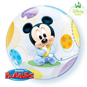 "Qualatex 22"" Single Bubble Disney Baby Mickey Balloon Birthday Party Decoration"