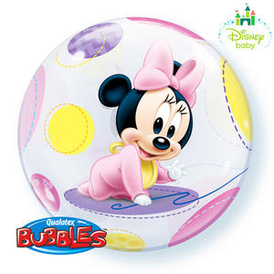 "Qualatex 22"" Single Bubble Disney Baby Minnie Balloon Birthday Party Decoration"