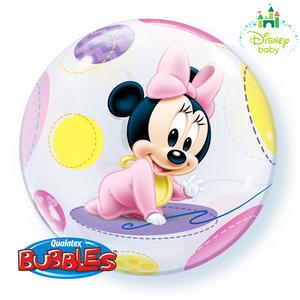 "Qualatex 22"" Single Bubble Disney Baby Minnie Balloon Birthday Party Decoration"