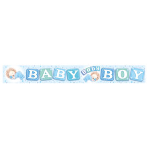Expression Factory Holo Foil Baby Boy Banner Baby Shower Party Decoration Blue