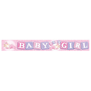 Expression Factory Holo Foil Baby Girl Banner Baby Shower Party Decoration Pink