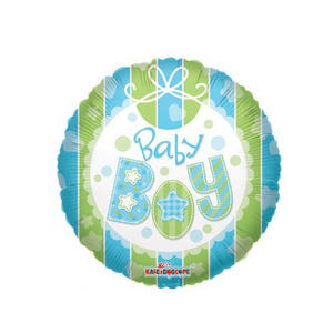 "Kaleidoscope 18"" Circle Foil Baby Boy Bib Balloon Baby Shower Party Decoration"