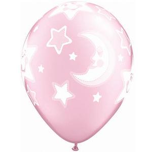 Qualatex 11 Inch Latex Balloons - Baby Moons Stars Pink