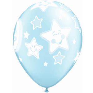 Qualatex 11 Inch Latex Balloons - Baby Moons Stars Blue