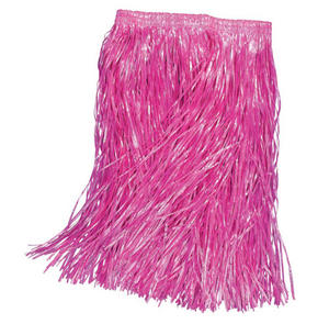 Childs Pink Grass Skirt Hawaiian Hula Girl Tropical Beach Party Fancy Dress