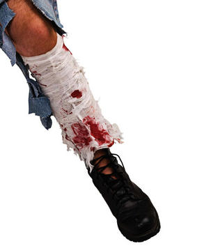 Bloody Leg Bandage Monster Zombie Scary Horror Halloween Fancy Dress