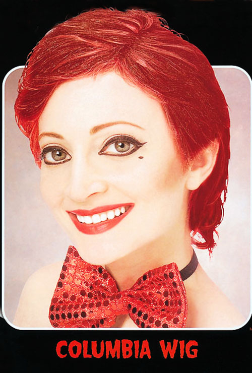 Short Red Columbia Style Wig Rocky Horror Show Devil Halloween Fancy Dress