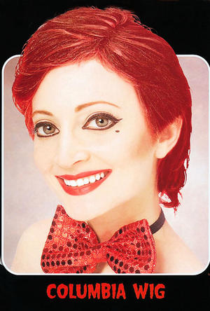 Short Red Columbia Style Wig Rocky Horror Show Devil Halloween Fancy Dress