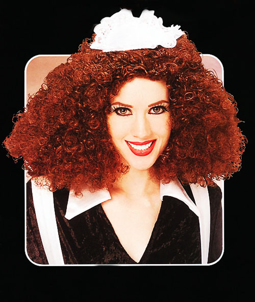 Magenta Rocky Horror Picture Show Brown Curly Wig Halloween Fancy Dress