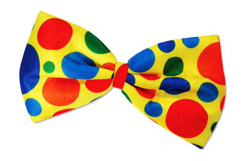 Oversize XL Yellow Clown Bow Tie Circus Fancy Dress Polka Dot On Elastic