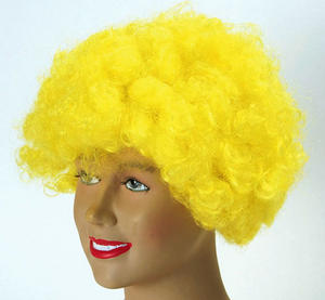 Big Yellow Afro Wig Curly Hair Clown Circus Disco Diva Unisex Retro Fancy Dress