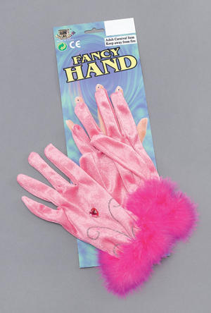 Short Pink Gloves With Furry Cuff Hen Night Fairy Pink Ladies Diva Fancy Dress