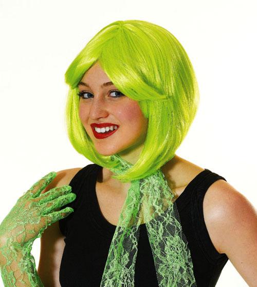 Ladies Neon Yellow Bob Wig Retro 80S Disco Diva Fancy Dress Costume Hair New