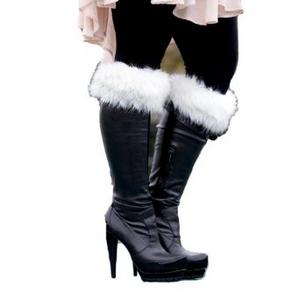 Ladies White Fur Boot Top Cuffs Sexy Santa Christmas Fancy Dress Costume Prop