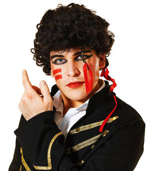 Black Curly Style Wig Adam Ant Prince Charming 80S Pop Star Fancy Dress