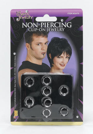 Clip On Lip And Nose Jewellery Body Piercing Gothic Emo Punk Fancy Dress