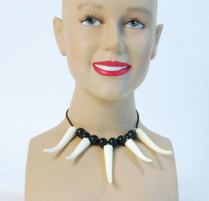 Caveman Tooth Necklace Cave Woman Jungle Fancy Dress