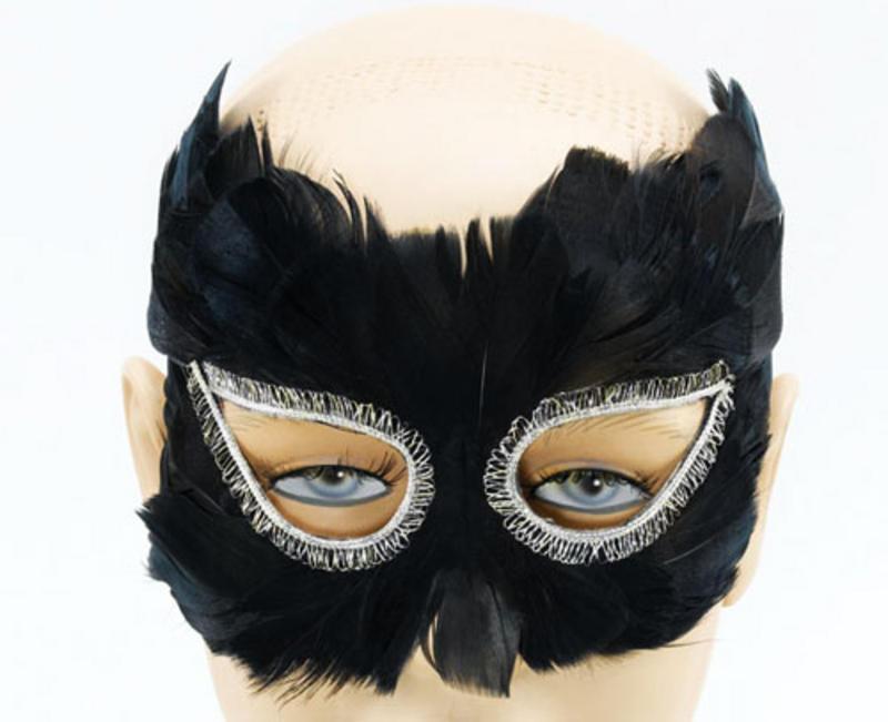 Black Feather Eye Mask Masquerade Ball Theatrical Venetian Fancy Dress
