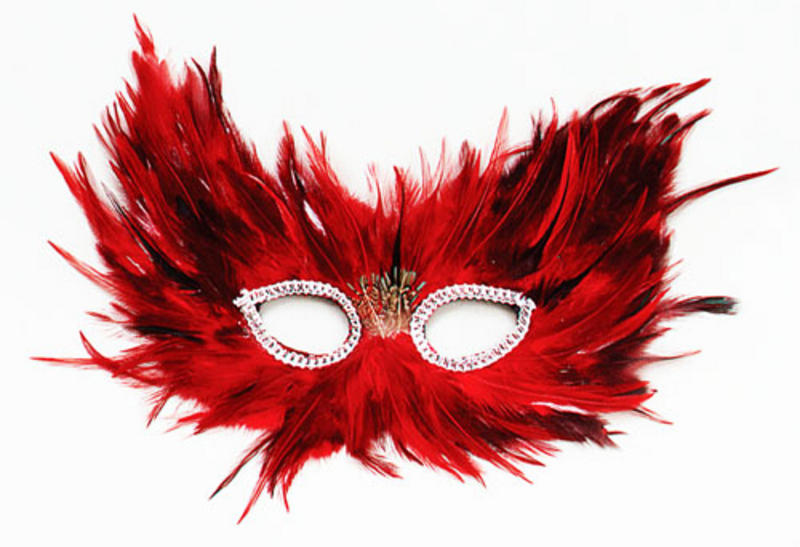 Red And Black Feather Mask Owl Masquerade Ball Fancy Dress