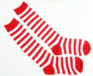 Red & White Stripe Socks Clown Circus Fancy Dress Adult One Size