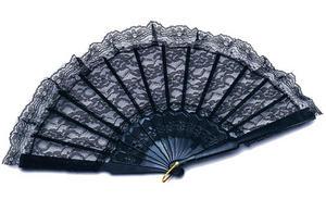 Black Lace Hand Fan Spanish Sexy Moulin Rouge Fancy Dress