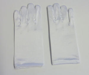Children Kids White Short Satin Feel Gloves Magician Fancy Dress