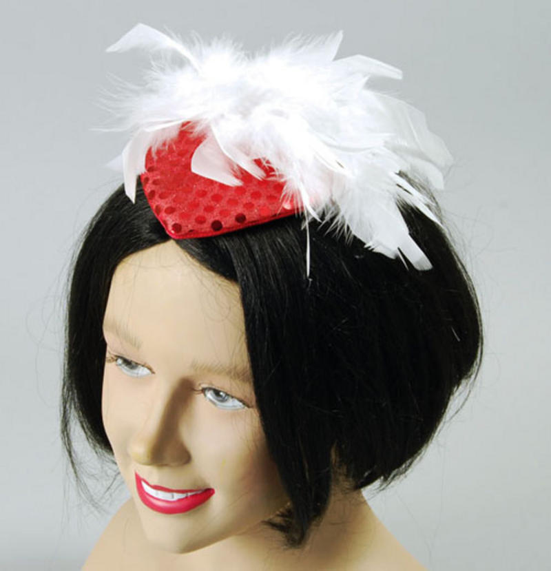 Ladies Red Sequin Head Piece With Feather Victorian Moulin Rouge Fancy Dress