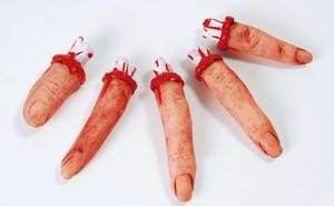 5 Realistic Bloody Fingers Zombie Prop Halloween Fancy Dress