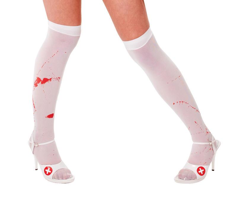 White Blood Stained Stockings Zombie Nurse Halloween Fancy Dress