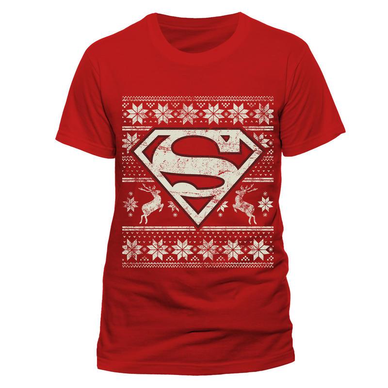 Superman Mens T-Shirt Top Licensed Merchandise Fair Isle Logo L  cfc9e075c33b2